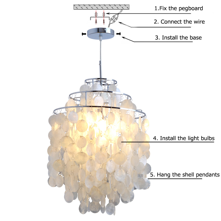 Modern Chandelier White Shell Pendant Lights Lamp with 1 Light