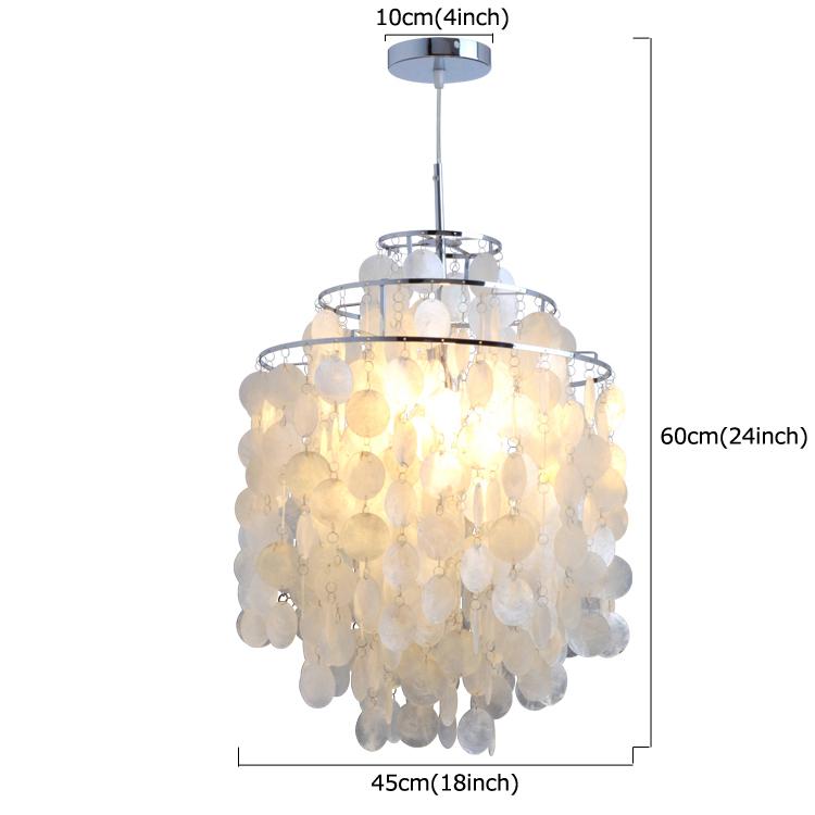 Modern Chandelier White Shell Pendant Lights Lamp with 1 Light