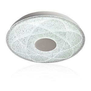 GE-18019-C 15 3/4-Inch 24W 4500K-6000K LED Interior Flush Mount, Geometric Ice Crystal Glass