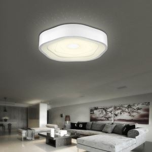 Modern Simple Fashion LED Dimmable Acrylic White Round Flush Mount Light Living Room Bedroom Study Room Dining Room