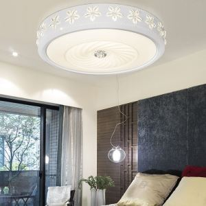 Modern Simple Fashion LED Dimmable Acrylic Round Engraving Flush Mount Light Living Room Bedroom Study Room Dining Room