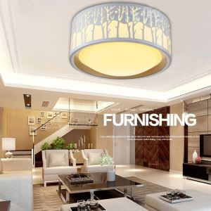 Modern Simple Creative LED Dimmable Acrylic White Round Branches Shape Flush Mount Light Living Room Bedroom Study Room Dining Room Energy Saving