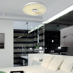Modern Simple Fashion LED Dimmable Acrylic White Printing Flush Mount Light Living Room Bedroom Study Room Dining Room