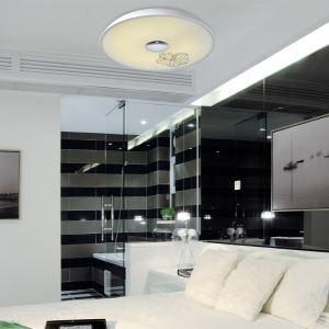 Modern Simple Fashion LED Dimmable Acrylic White Printing Flush Mount Light Living Room Bedroom Study Room Dining Room Energy Saving