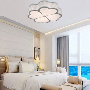 Modern Simple Creative LED Dimmable Acrylic White Clover Flush Mount Light Living Room Bedroom Study Room Dining Room