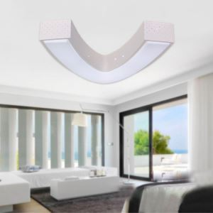 Modern Simple Fashion LED Dimmable Acrylic White V Shape Flush Mount Light Living Room Bedroom Study Room Dining Room