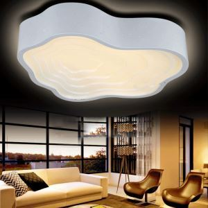 Modern Simple Fashion LED Dimmable Acrylic White Clouds Flush Mount Light Living Room Bedroom Study Room Dining Room