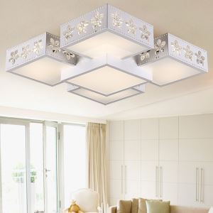 Modern Simple Fashion LED Dimmable Acrylic Sakura Square Flush Mount Light Living Room Bedroom Study Room Dining Room Energy Saving