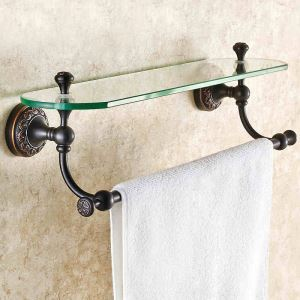 European Antique Bathroom Accessories Copper Engraving Glass Bath Shelf