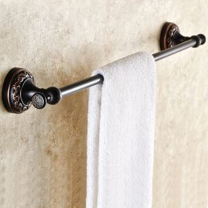 European Antique Bathroom Accessories Copper Engraving Single-layer Towel Bar