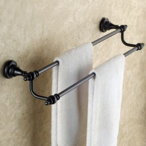 European Antique Bathroom Accessories Copper ORB Double-layer Towel Bar