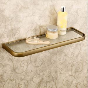 European Antique Bathroom Accessories Copper Single-layer Glass Bath Shelf