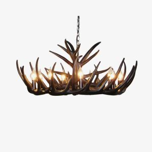 Rustic Style Cascade Chandelier Artistic Antler Chandelier Antler Lighting with 9 Lights Black Chandelier Dining Room Lighting Ideas Living Room Bedroom Lighting