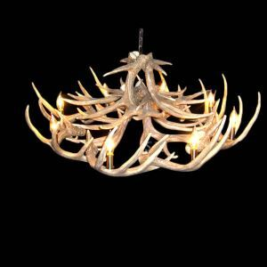 Rustic Style Cascade Chandelier Artistic Antler Chandelier Antler Lighting with 8 Lights Antler Color Dining Room Lighting Ideas Living Room Bedroom Lighting