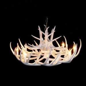 Rustic Style Cascade Chandelier Artistic Antler Chandelier Antler Lighting with 8 Lights White Dining Room Lighting Ideas Living Room Bedroom Lighting