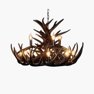 Rustic Style Cascade Chandelier Artistic Antler Chandelier Antler Lighting with 12 Lights Black Chandelier Dining Room Lighting Ideas Living Room Bedroom Lighting