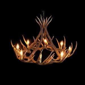 Rustic Style Cascade Chandelier Artistic Antler Chandelier Antler Lighting with 8 Lights Antler Color Dining Room Lighting Ideas Living Room Bedroom Ceiling Lights