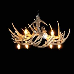 (In Stock) Rustic Style Cascade Chandelier Artistic Antler Chandelier Antler Lighting with 6 Lights Antler Color Dining Room Lighting Ideas Living Room Bedroom Lighting