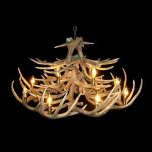 Rustic Style Cascade Chandelier Artistic Antler Chandelier Antler Lighting with 12 Lights Antler Color Dining Room Lighting Ideas Living Room Bedroom Lighting