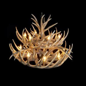 Rustic Style Cascade Chandelier Artistic Antler Chandelier Antler Lighting with 15 Lights Antler Color Dining Room Lighting Ideas Living Room Bedroom Ceiling Lights