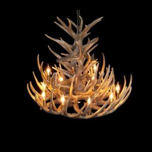 (In Stock) Rustic Style Cascade Chandelier Artistic Antler Chandelier Antler Lighting with 15 Lights Antler Color Dining Room Lighting Ideas Living Room Bedroom Lighting