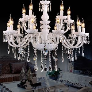 Chandelier Crystal Luxury Modern 2 Tiers Living Room Chandelier 12 Lights