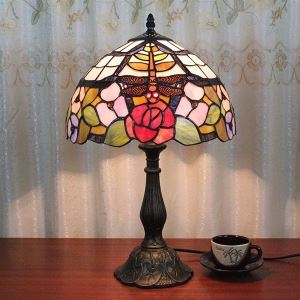 Tiffany Table Light with 1 Lights in Flowers and Dragonfly Pattern