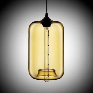 Modern Transparent Glass Pendant Light  Hand Blown Colorful with 1 Light Amber Color Dining Room Lighting Ideas Living Room Bedroom Lighting