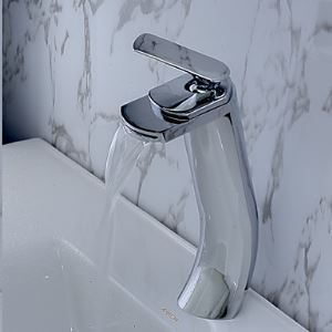 (In Stock) (US Direct) Contemporary Brass Waterfall Bathroom Sink Faucet Tall (Only for US Customer)