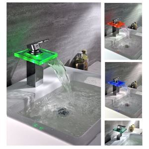 (In Stock) (US Direct) LED Glass&Brass Color Changing Wholesale Faucet  (Only for US Customer)