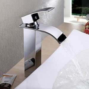 (US Direct) Waterfall Bathroom Sink Faucet Contemporary Design Brass Finish Tall (Only for US Customer)