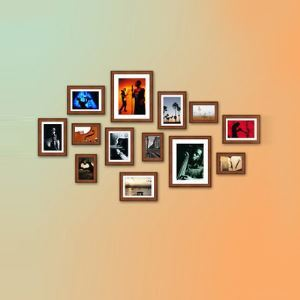 Mediterranean Style Wood Wall Frame Collection  - Set of 13 Pieces