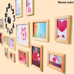 Rural Style Wood Wall Frame Collection  - Set of 15 Pieces