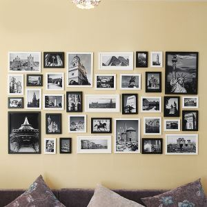 Modern Wood Wall Frame Collection  - Set of 35 Pieces