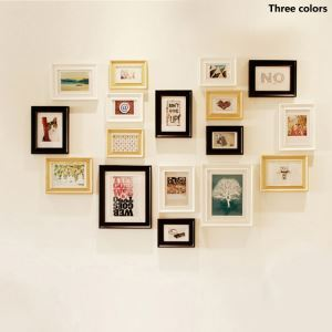 Wood Wall Frame Collection  - Set of 17 Pieces