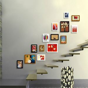 Modern Wood Wall Frame Collection  - Set of 14 Pieces