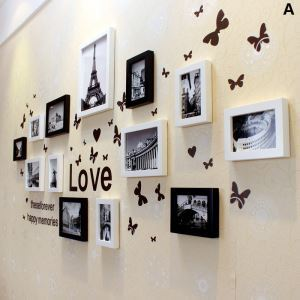 Modern Wood Wall Frame Collection  - Set of 13 Pieces