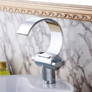 (UK Direct)Modern Chrome Finish Single Installation Hole Single Handle Sink Tap Waterfall Bathroom Sink Faucet  (Only for UK Customer)