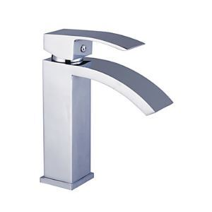 (UK Direct) Contemporary Solid Brass Bathroom Sink Faucet - Chrome Finish (Only for UK Customer)