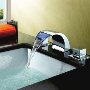 (In Stock) (UK Direct) Color Changing LED Waterfall Widespread Bathroom Sink Faucet  Chrome Finish (Only for UK Customer)