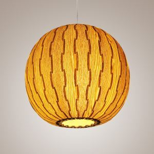 Rustic Style Natural Veneer Ball Shape Pendant Light 1-light