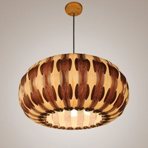 Rustic Style Natural Veneer Drum Shape Pendant Light 1-light 3-light