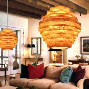 Rustic Style Natural Veneer Wavy Shape Pendant Light 1-light 3-light