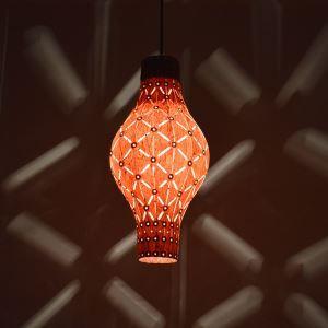 Rustic Style Natural Veneer Vase Shape Pendant Light 1-light