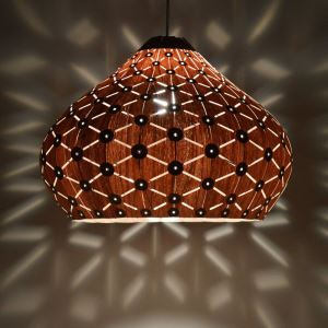 Rustic Style Natural Veneer Vase Shape Pendant Light 3-light