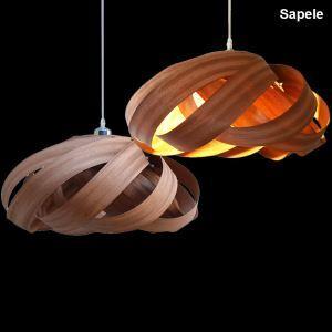 Rustic Style Natural Veneer Spiral Pendant Light 1-light 3-light