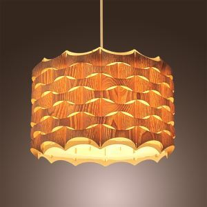 Rustic Style Natural Veneer Fish Shape Pendant Light 1-light