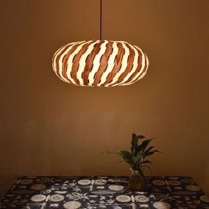 Rustic Style Natural Veneer Pendant Light 3-light