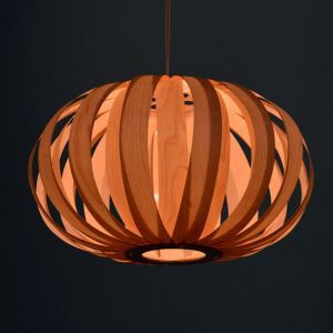 Rustic Style Natural Veneer Pumpkin Shape Pendant Light 1-light