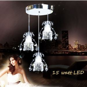 Modern Simple LED Crystal Pendant Light 3-light